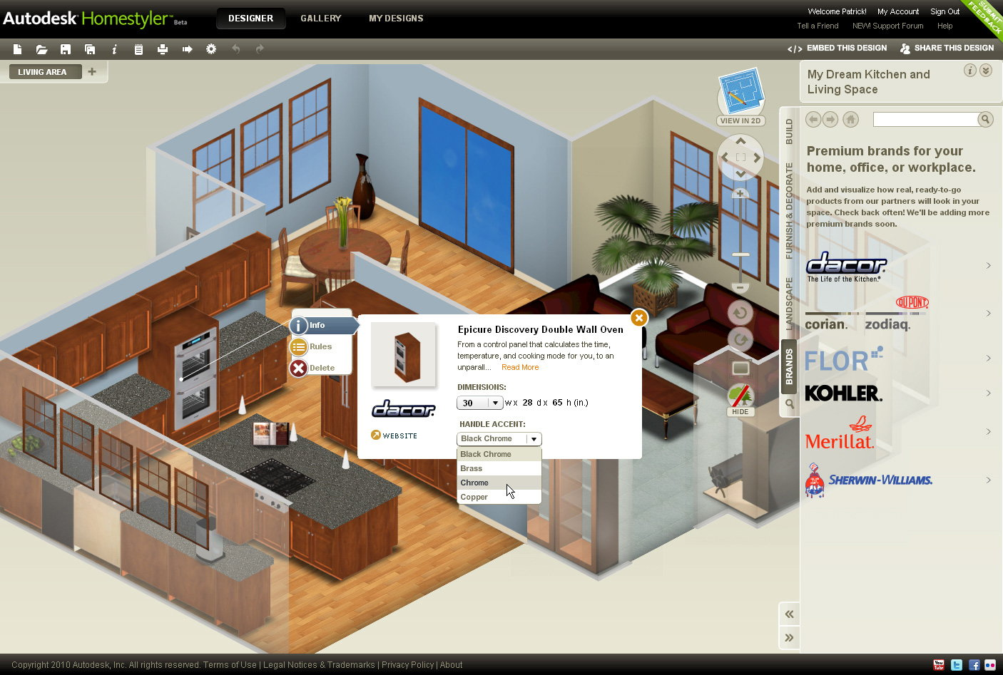Autodesk homestyler easy to use free 2d and 3d online for Online 3d program