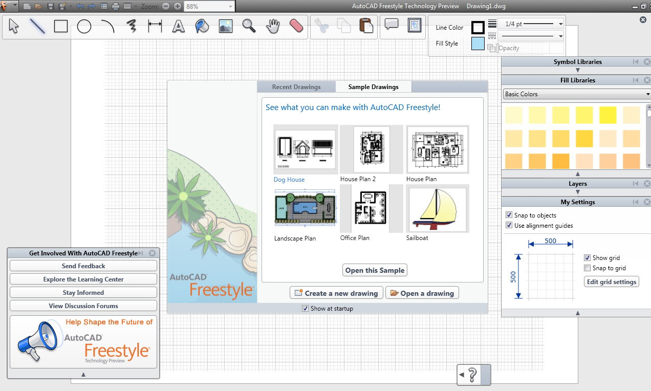 Autocad freestyle easy to use low cost drawing software Easy drawing software