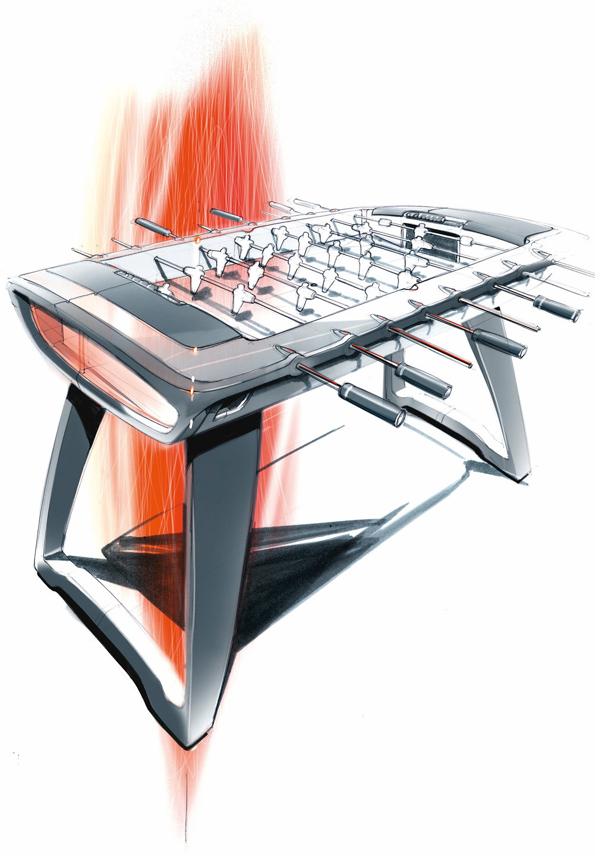 Audi design soccer table starts production for Table design sketch