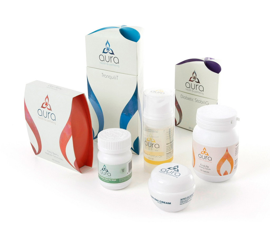 Aura Health and Wellbeing Packaging Design Brand Identity