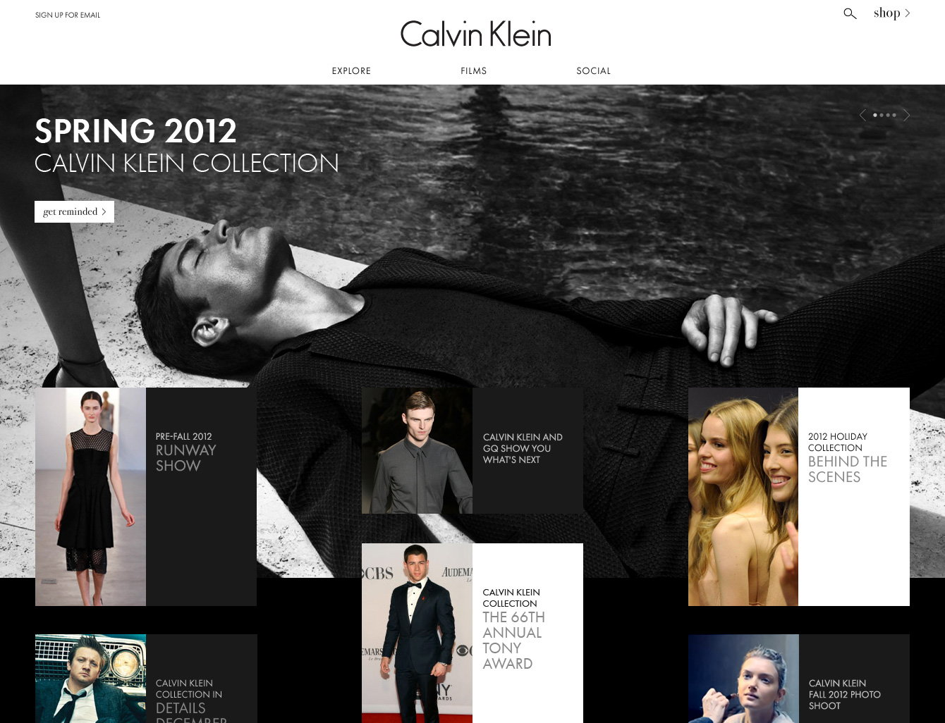 Calvin Klein Website HomePage