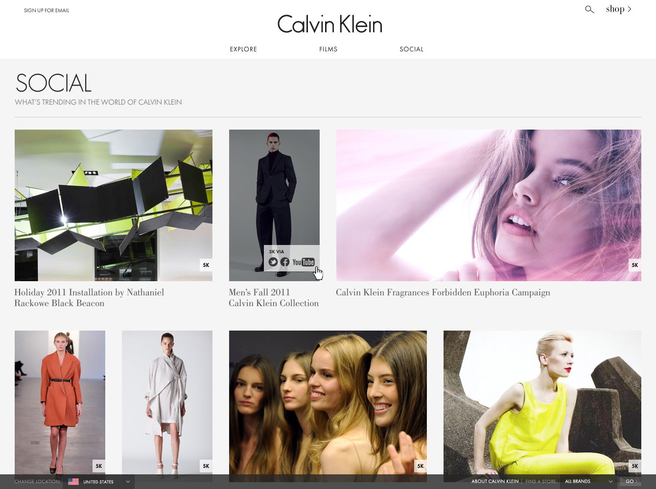Calvin Klein Website Social