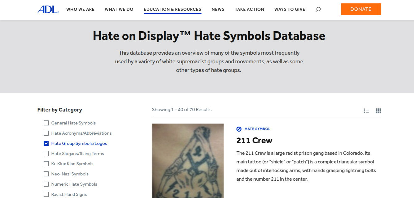 Anti Defamation League Website