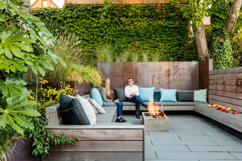 Wittman Estes Designs Sunken Courtyard in a Sun Soaked ... on Backyard Patio Landscaping id=24360