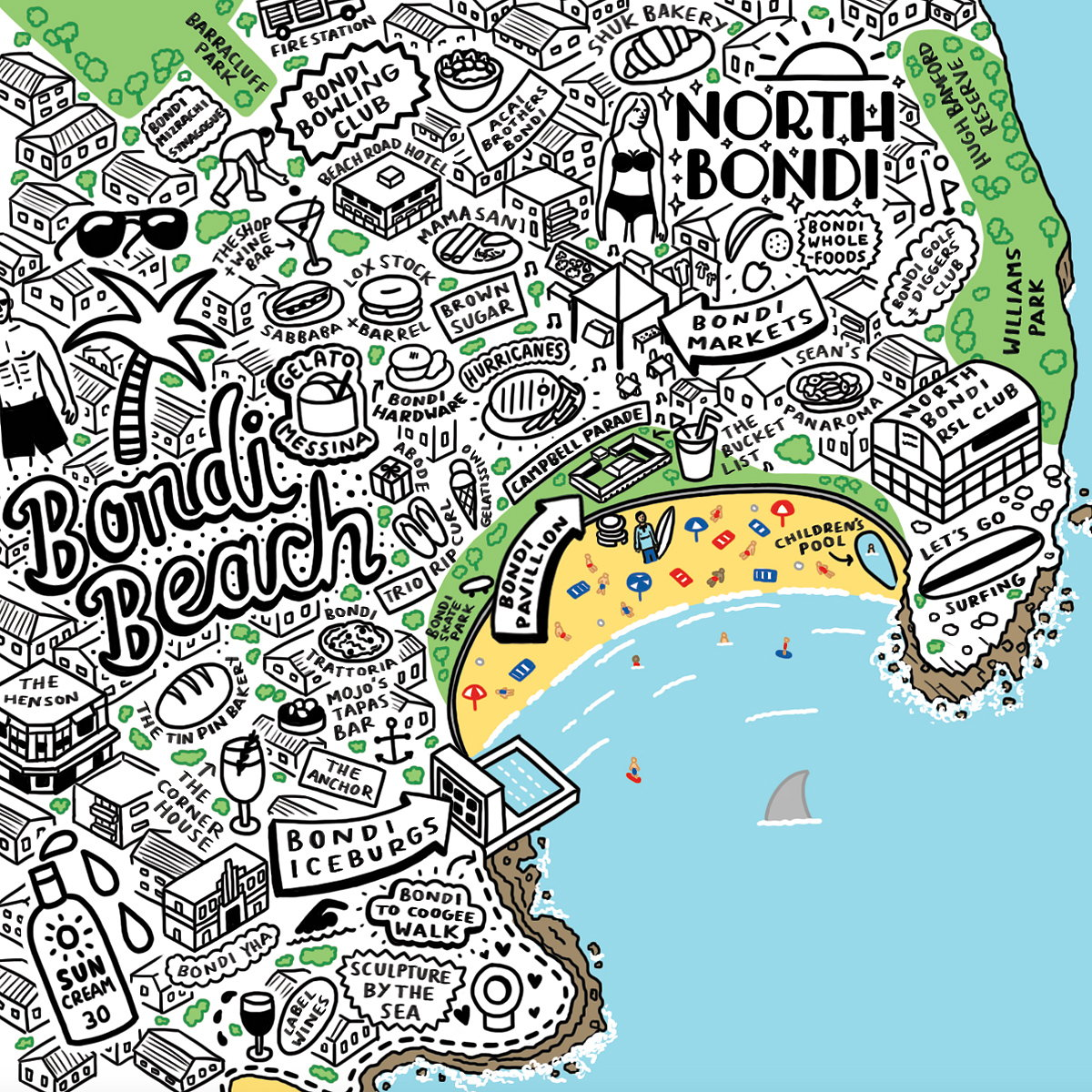 Jenni Sparks' Hand-drawn Map of Sydney Bursting with Hidden Details