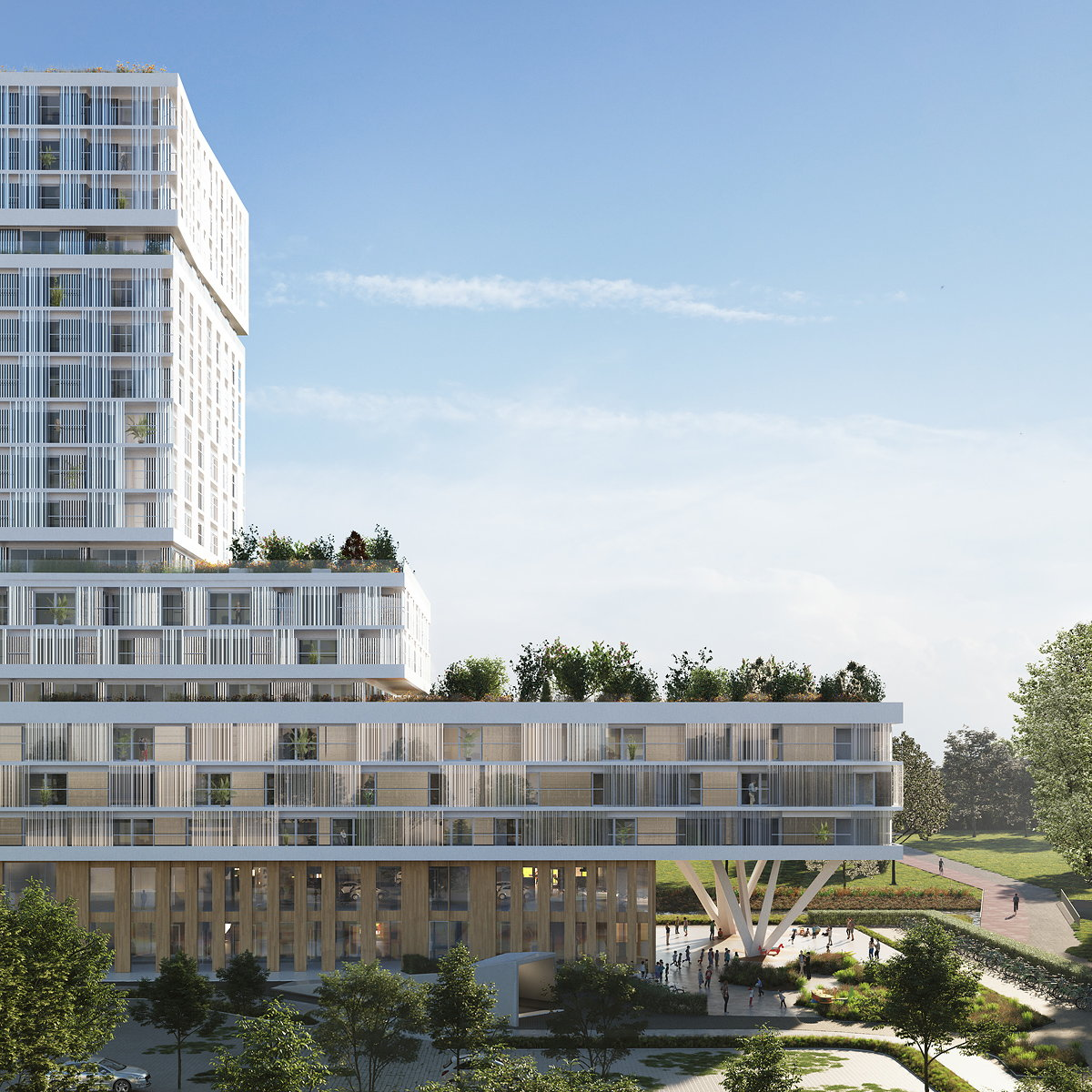 Orange Architects Designs All-in-One School and 190 Apartments in Amsterdam