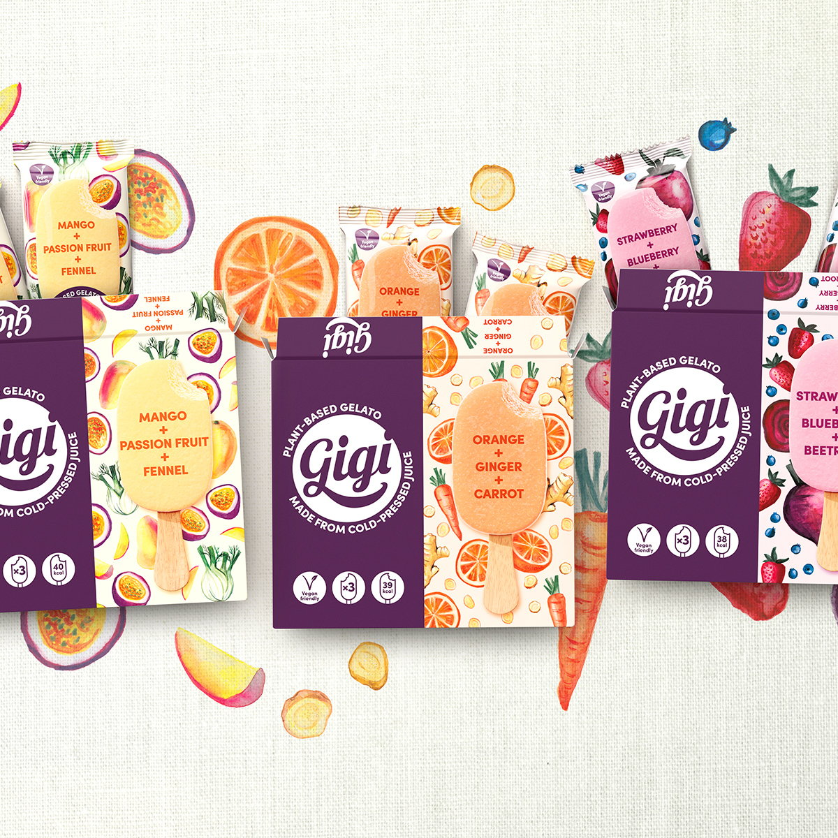 Straight Forward Designs Brand and Packaging for Plant-based Gelato 'Gigi'