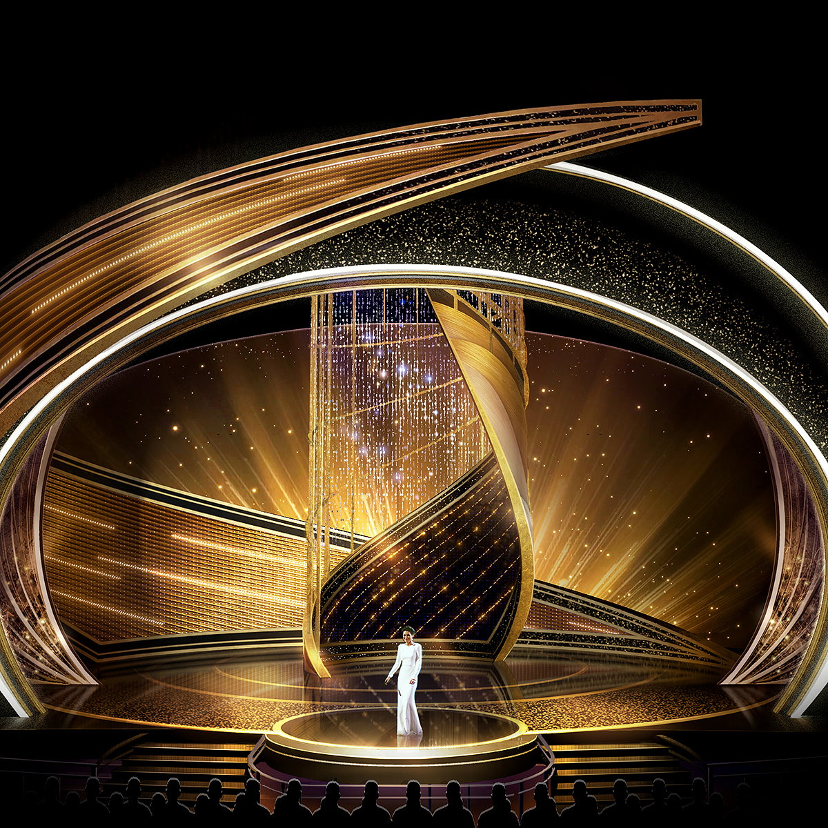 Jason Sherwood Designs 'Swirling Cyclone' Stage for 92nd Oscars